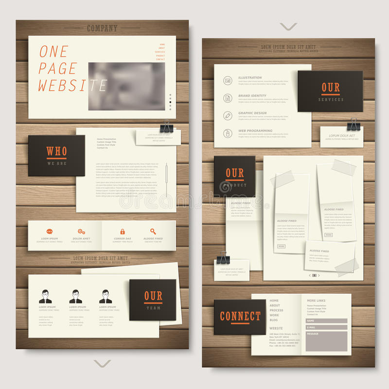 One page website design with paper and wooden texture royalty free illustration