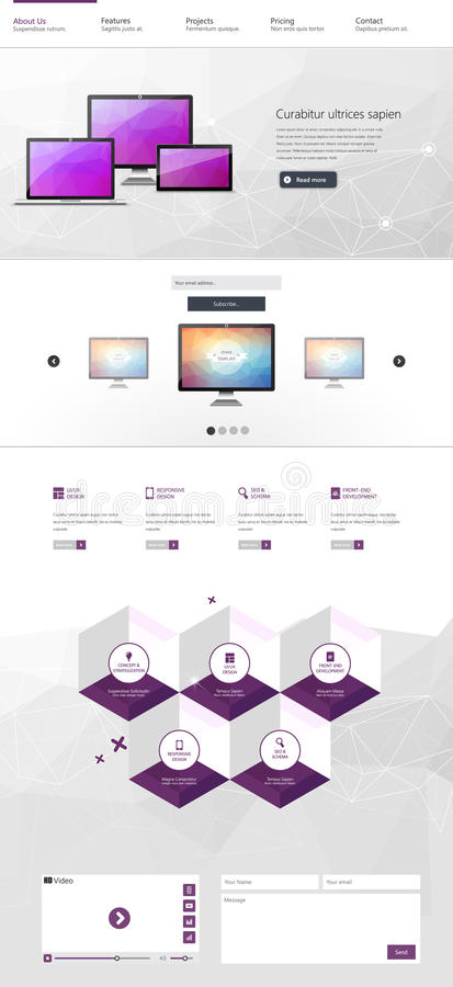 One page website design template. All in one set for website design that includes one page website template. Vector eps 10 royalty free illustration