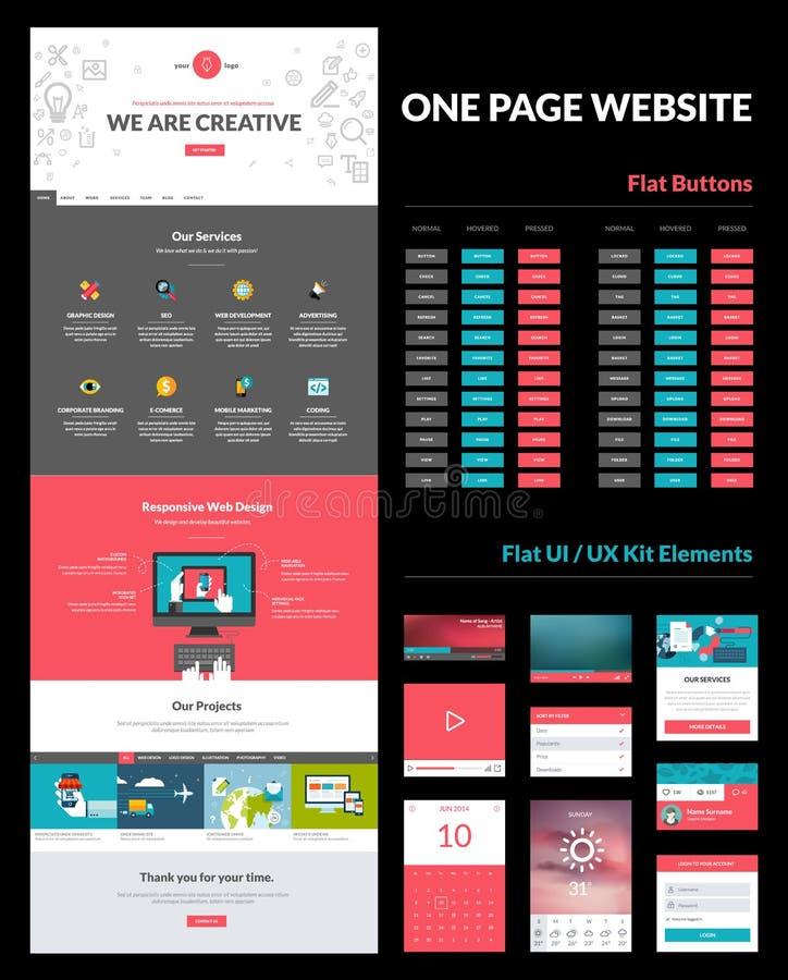One page website design template vector illustration