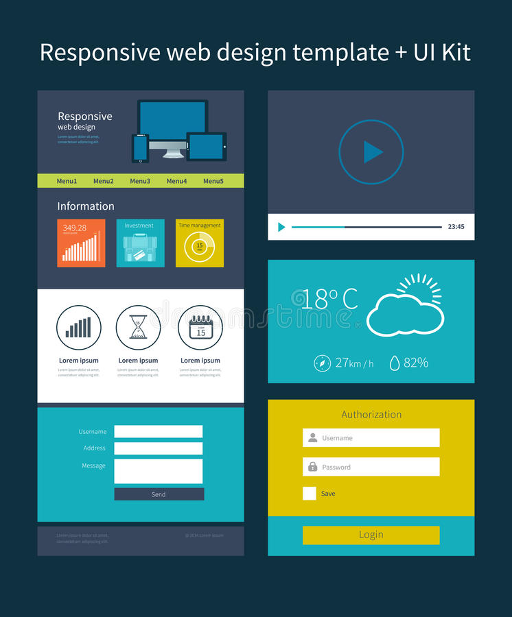 One page website design template. stock illustration