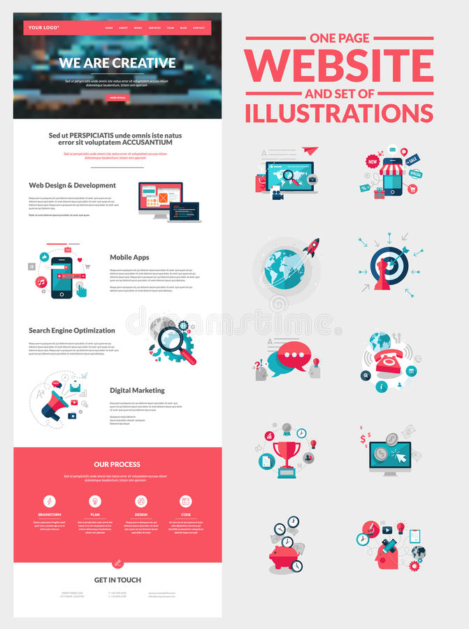 One page website design template vector illustration