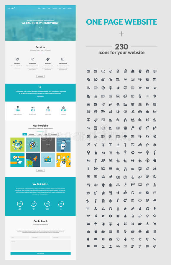 One page website design template royalty free illustration