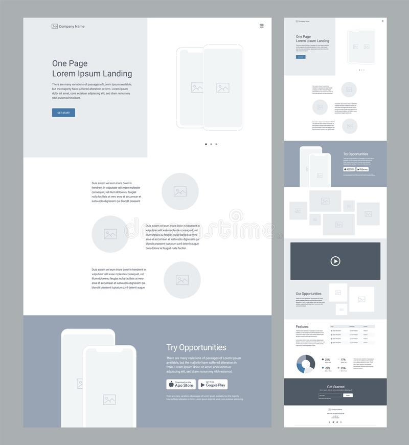 One page website design template for business. Landing page wireframe. Flat modern responsive design. Ux ui website royalty free illustration