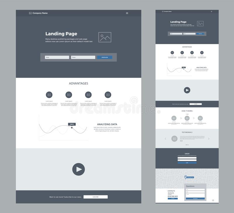One page website design template for business. Landing page wireframe. Flat modern responsive design. Ux ui website template. Concept mockup layout for stock illustration