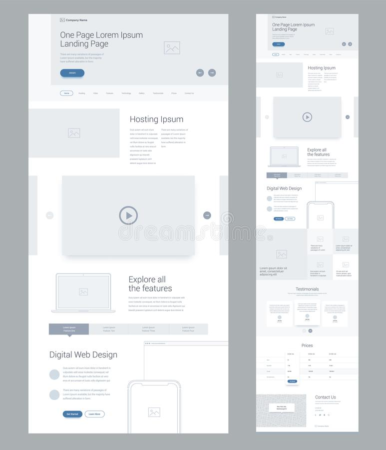 One page website design template for business. Landing page wireframe Digital Web. Flat modern responsive design. Ux ui website. royalty free illustration
