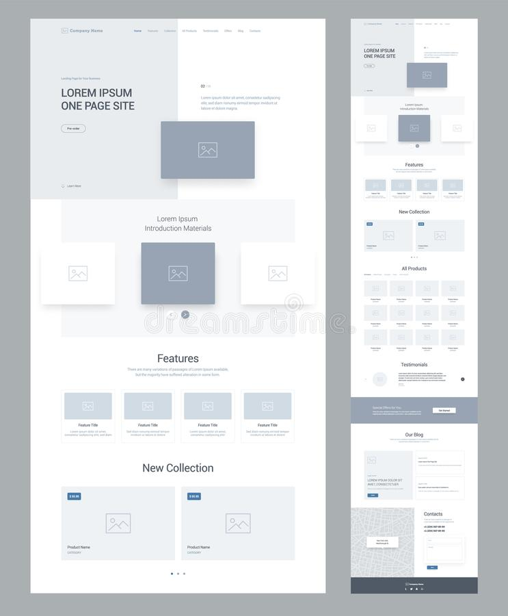 One page website design template for business. Landing page wireframe. Flat modern responsive design. Ux ui website. One page website design template for vector illustration