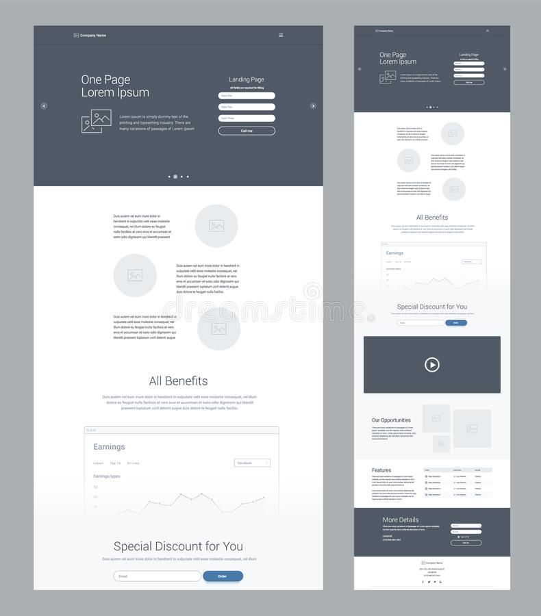 One page website design template for business. Landing page wireframe. Flat modern responsive design. Ux ui website template. stock illustration