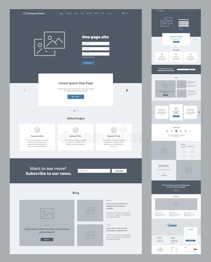 One page website design template for business. Landing page wireframe. Flat modern responsive design. Ux ui website. royalty free illustration