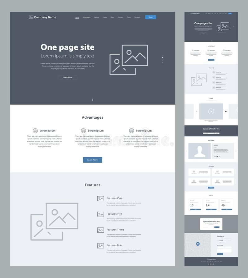 One page website design template for business. Landing page wireframe. Flat modern responsive design. vector illustration