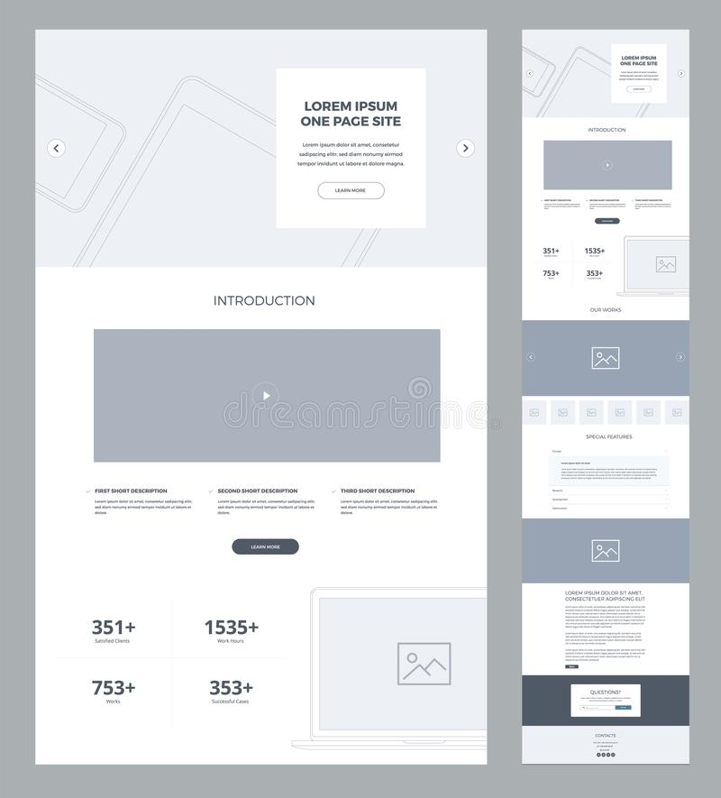 One page website design template for business. Landing page wireframe. Flat modern responsive design. Ux ui website stock illustration
