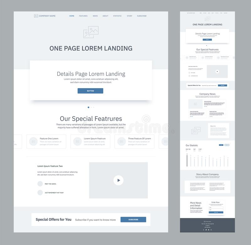 One page website design template for business. Landing page wireframe. Flat modern responsive design. Ux ui website. One page website design template for stock illustration