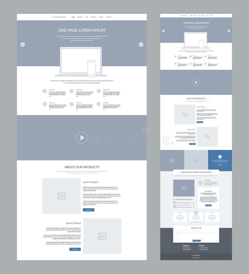 One page website design template for business. Landing page wireframe. Flat modern responsive design. Ux ui website. One page website design template for royalty free illustration