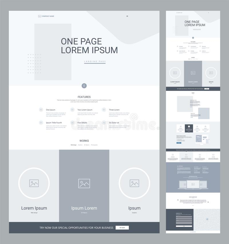 One page website design template for business. Landing page wireframe. Flat modern responsive design. Ux ui website: home, features, works, news, specials royalty free illustration