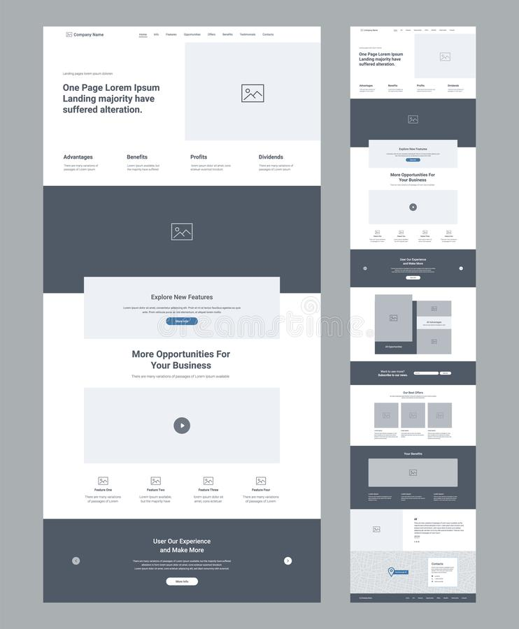 One page website design template for business. Landing page wireframe. Flat modern responsive design. Ux ui website. stock illustration