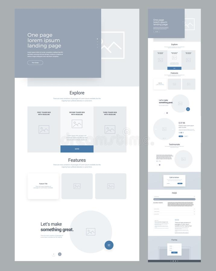 One page website design template for business. Landing page wireframe. Modern responsive design. Ux ui website. vector illustration