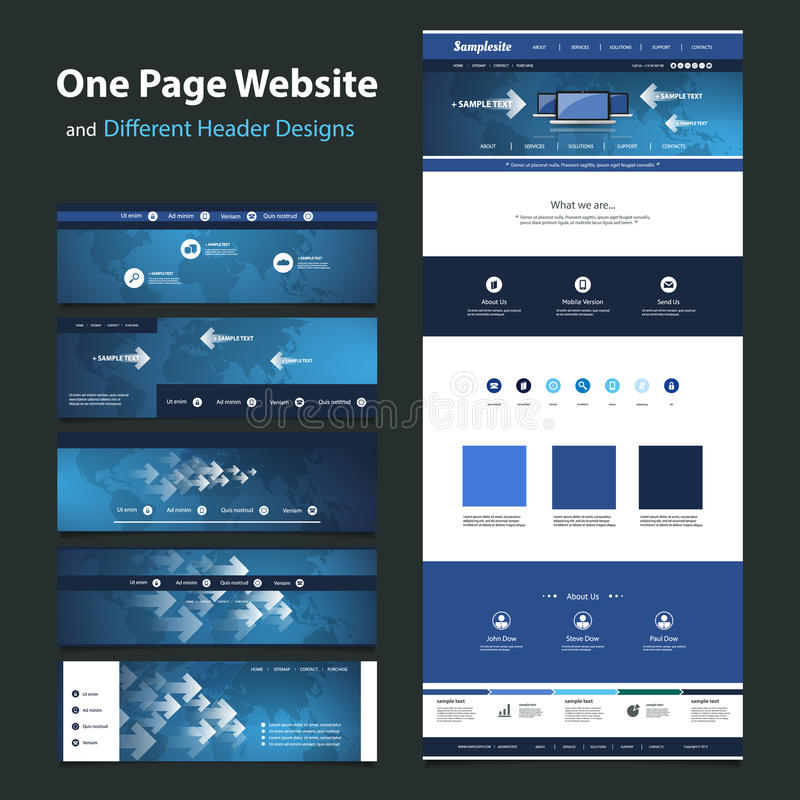 Footer Site Map: One Page Website Design Template And Different Headers