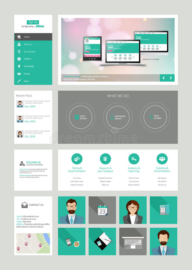 One page website design template in flat design style royalty free illustration