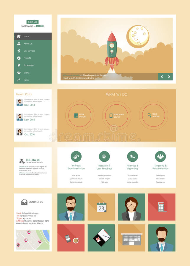 One page website design template in flat design style with rocket retro spaceship illustration vector illustration