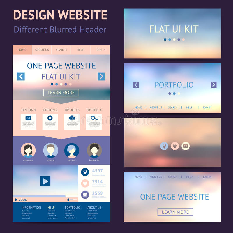 One page website design template, flat ui kit vector illustration