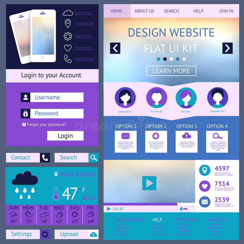 One page website design template, flat ui kit royalty free illustration
