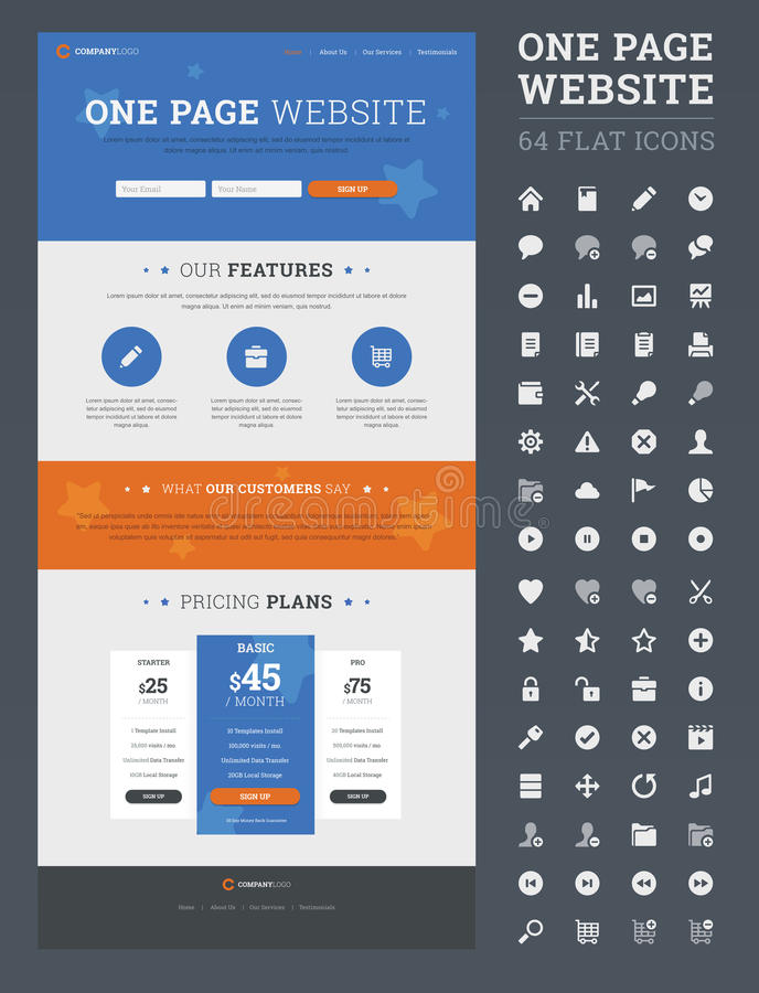 One page website design template. royalty free illustration