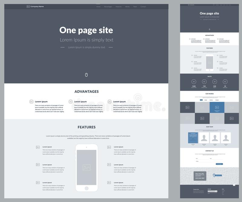 One page website design template for your business. Landing page wireframe. Ux ui website design. Flat modern responsive design il stock illustration