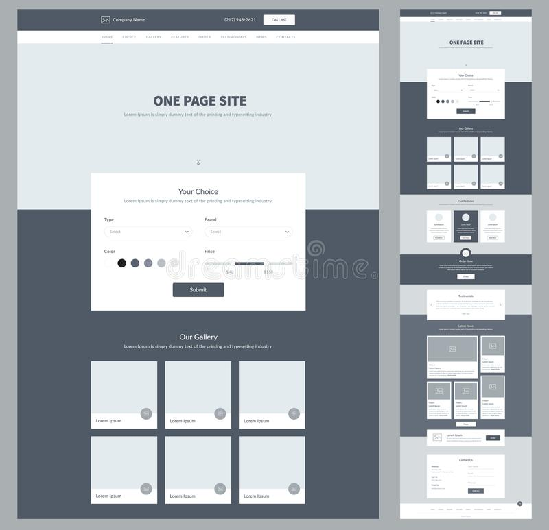 One page website design template for your business. Landing page wireframe. Ux ui website design. Flat modern responsive design. stock illustration