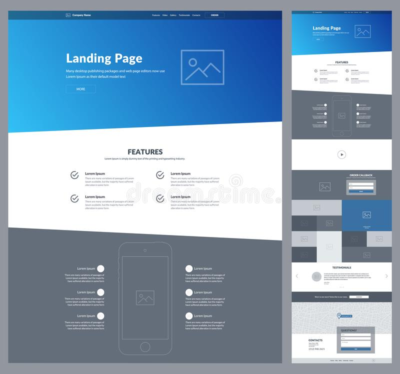 One page website design template for your business. Landing page wireframe. Ux ui website design. Flat modern responsive design. royalty free illustration