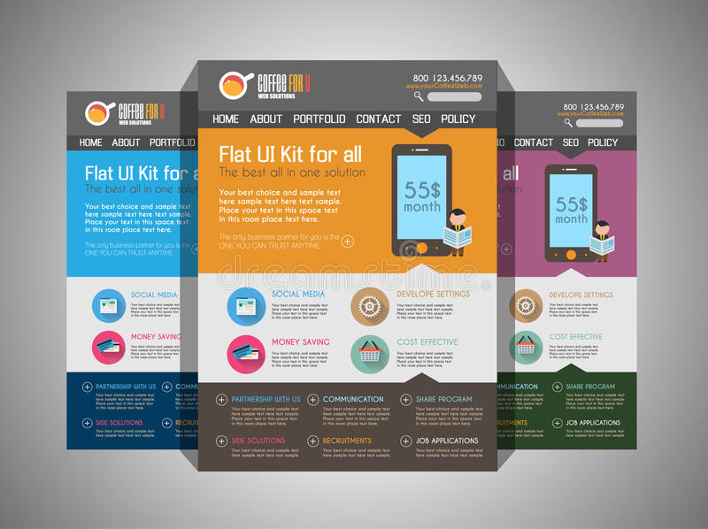 One page website flat UI design template. vector illustration