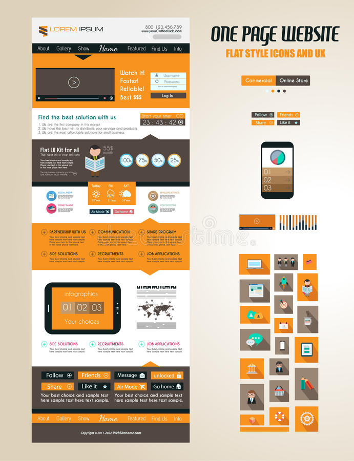 One page website flat UI design template royalty free illustration