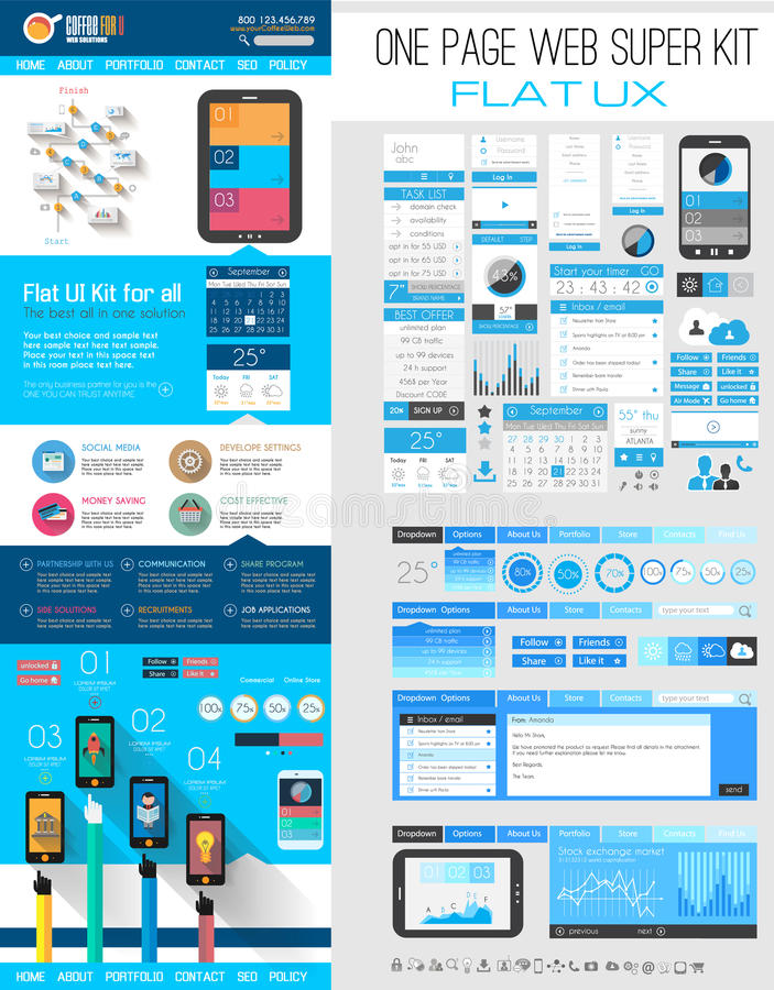 One page website flat UI design template stock illustration