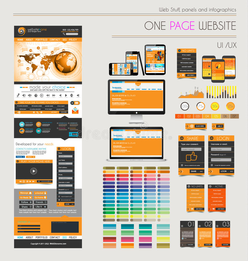 One page website flat UI UXdesign template. stock illustration