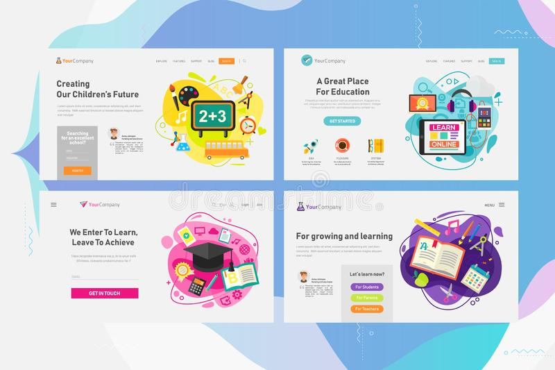 One Page Website Kit for Education and Online Learning Concept Banners. Vector Illustration stock illustration