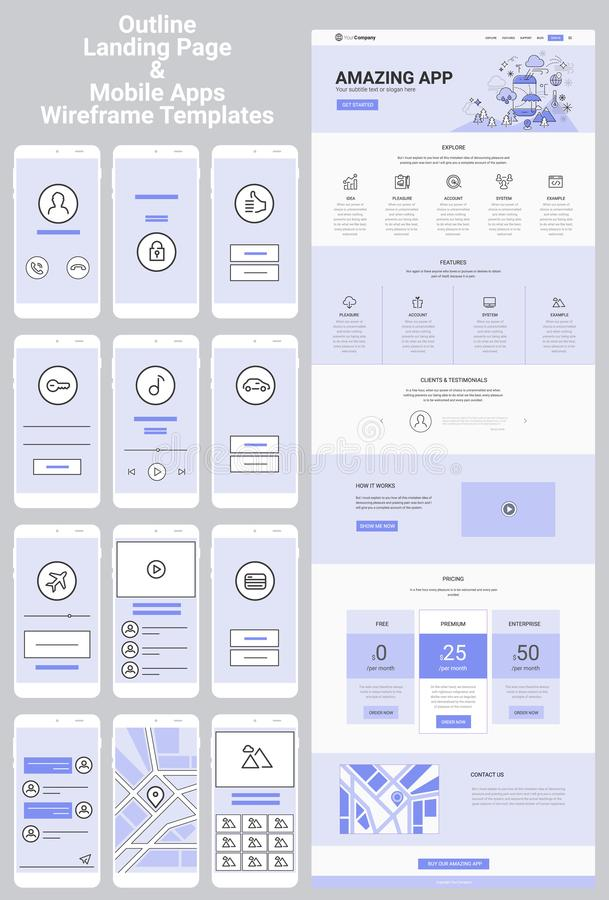 One Page Website and Mobile Apps Wireframe Kit. Responsive landing page or one page website and mobile apps template mockups wireframe workflow collection vector illustration