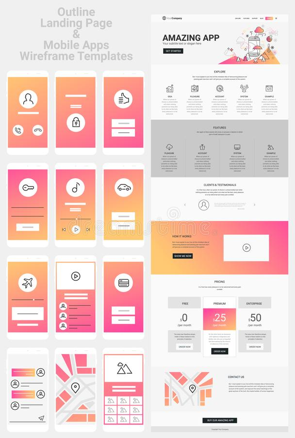 One Page Website and Mobile Apps Wireframe Kit. Responsive landing page or one page website and mobile apps template mockups wireframe workflow collection stock illustration