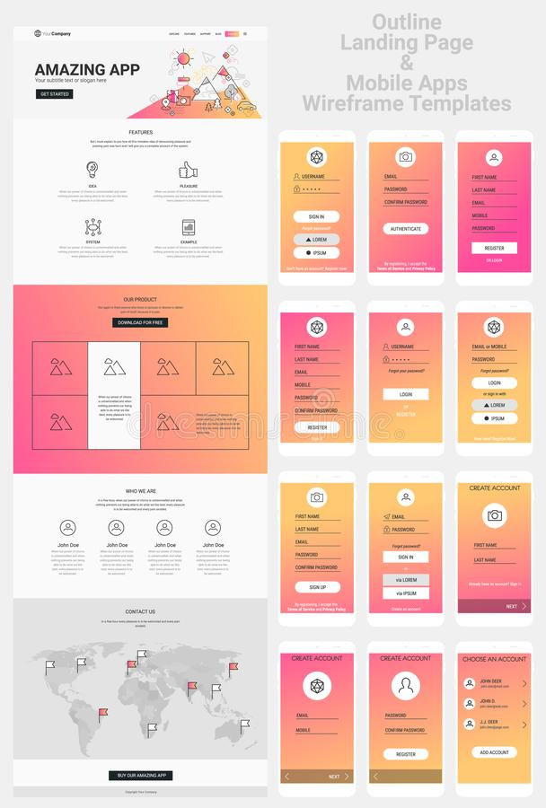 One Page Website and Mobile Apps Wireframe Kit royalty free illustration