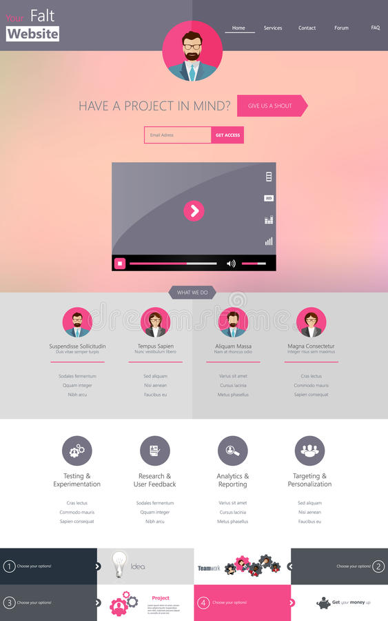 One Page Website Template, Creative Flat Design Stock Vector ...