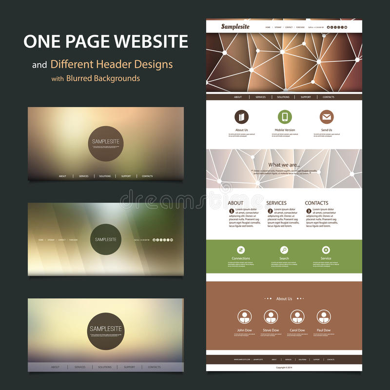 One Page Website Template and Different Header Designs with Blurred Backgrounds vector illustration