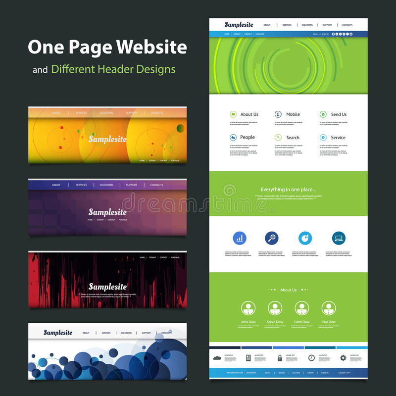 One Page Website Template And Different Header Designs Stock Vector ...