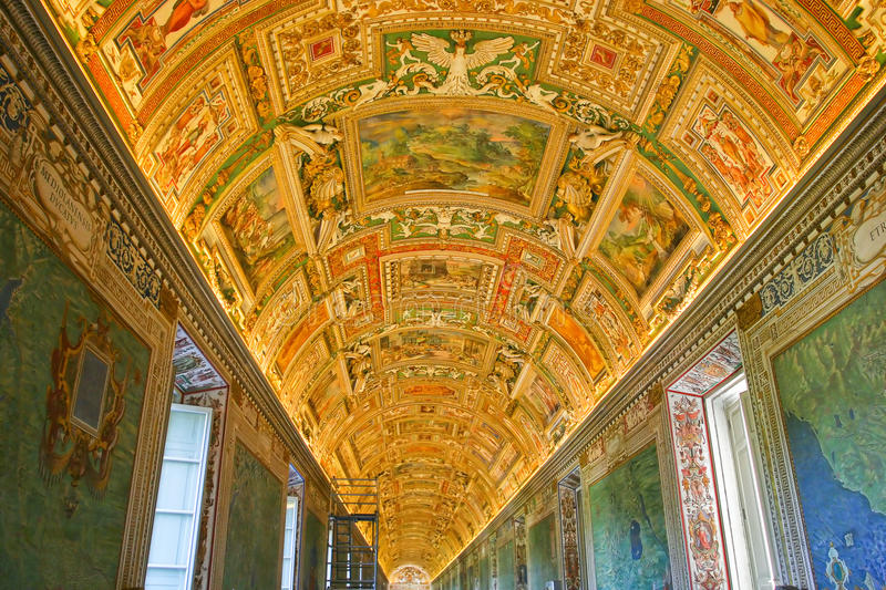 One of the paintings on the ceiling in the Vatican Museum. The image inside the picture, painted on the ceiling, which has a feeling of space in the Vatican stock photography