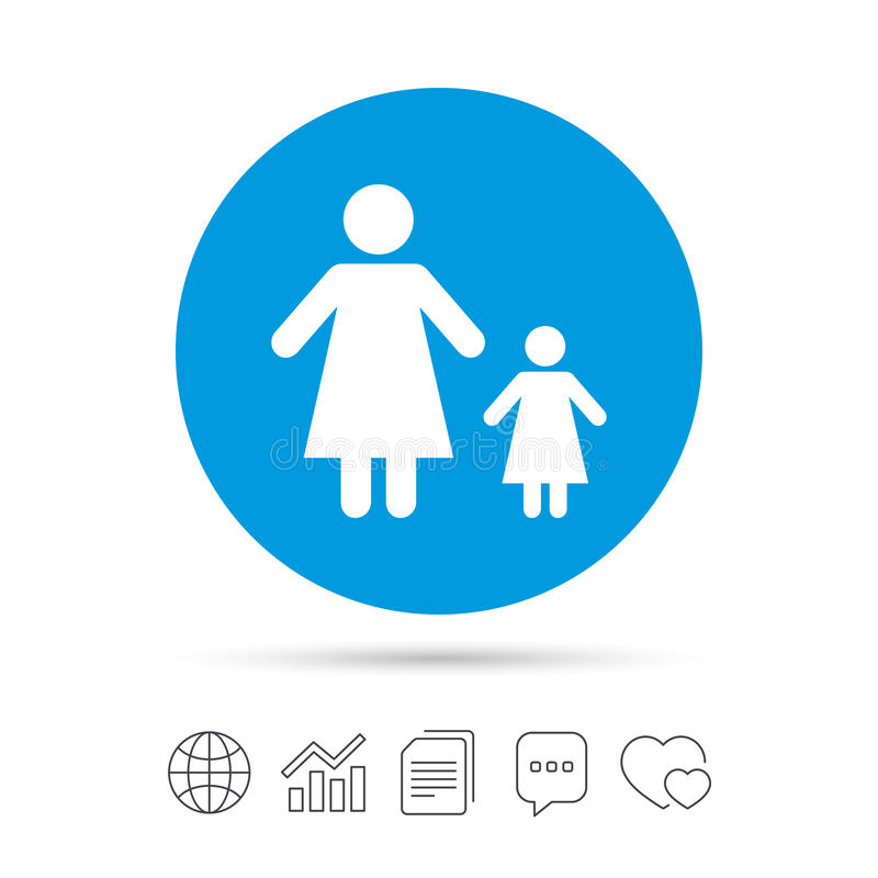 One Parent Family With One Child Sign Icon Stock Vector