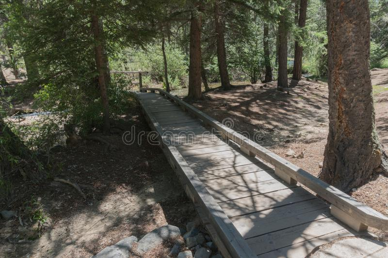 Fawn Lakes wooden pathway in New Mexico. One of the pathways which lead to the small ponds which make up the Fawn lakes in New Mexico royalty free stock photography