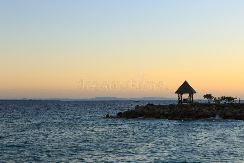 One pavilion nearby sea royalty free stock photos