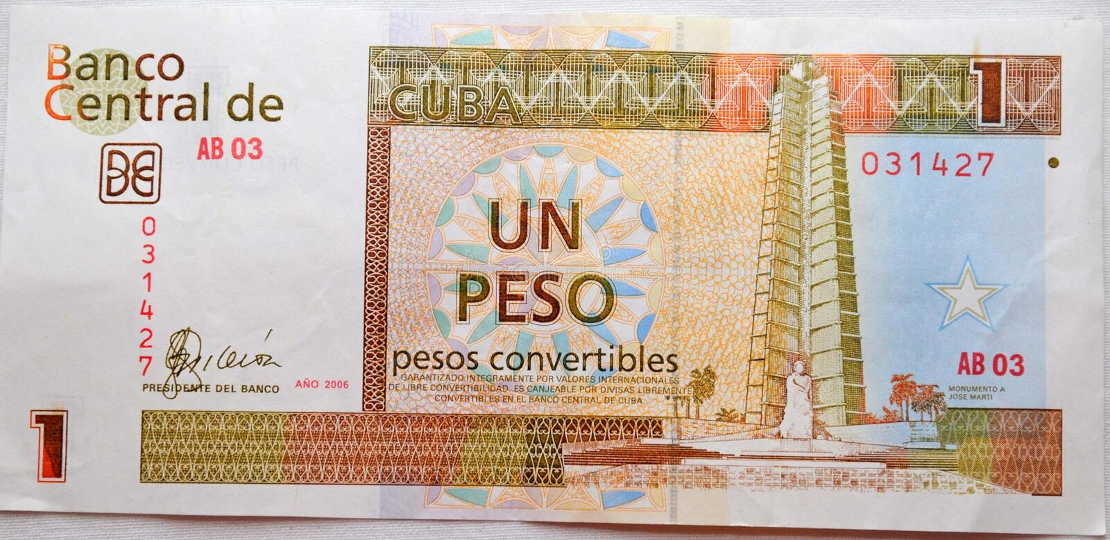 One peso from cuba royalty free stock image