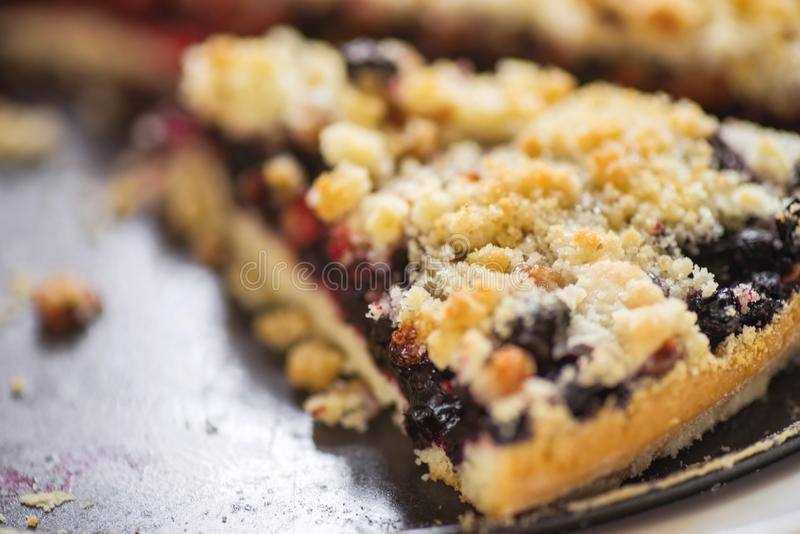 One piece of blueberry and currant cake. royalty free stock photos