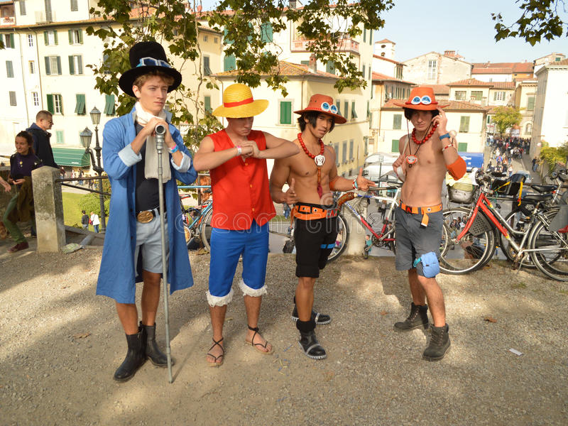 One piece cosplayers at Lucca Comics and Games 2014 royalty free stock images