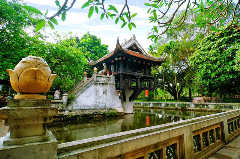 One pilar pagoda in Hanoi, Vietnam. Turtle tower in Sword lake in spring in Hanoi, Vietnam stock photo