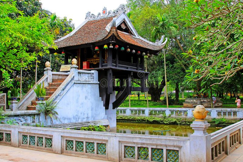 One Pillar Pagoda, Hanoi Vietnam stock images
