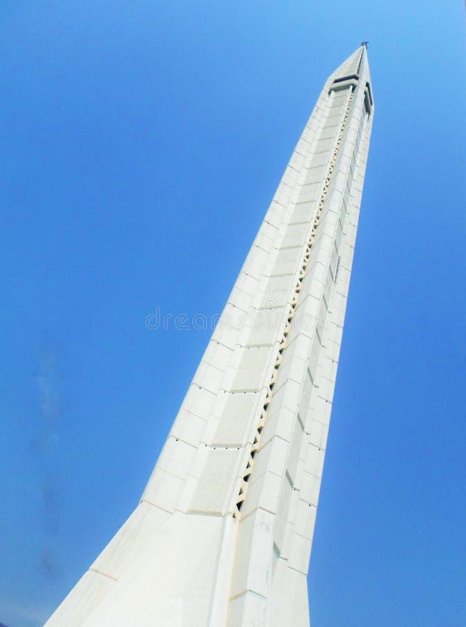 Minaret of Faisal Mosque at Islamabad,Pakistan stock photography