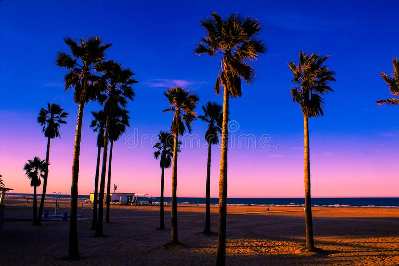 One place in Gandia-Spain. Sunset over Gandia one beach in the paradise from Spain stock photography